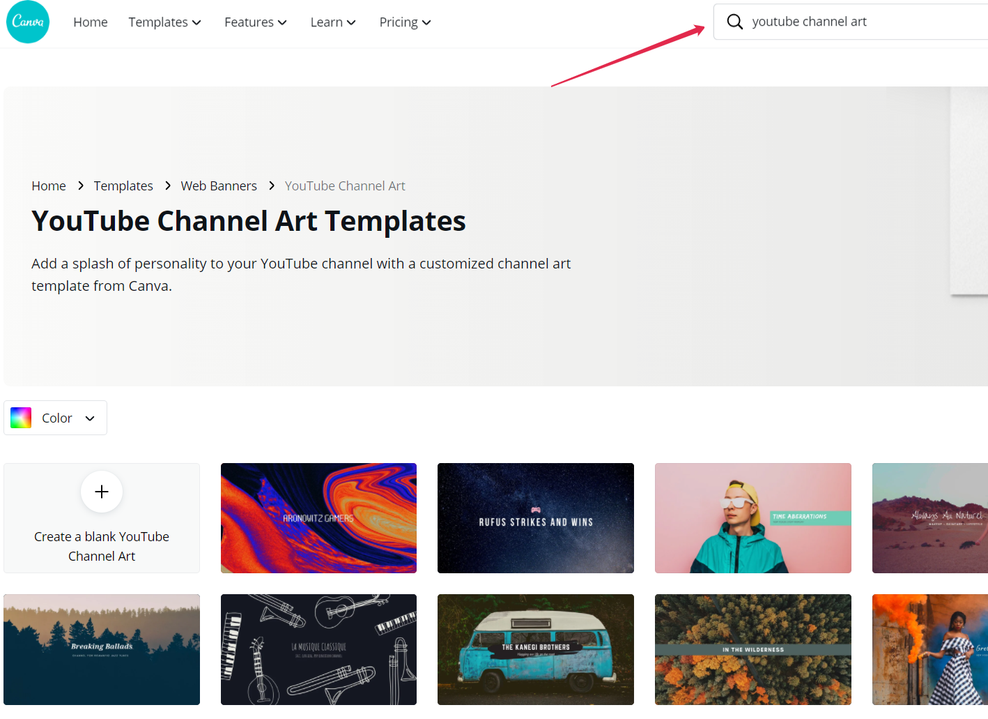 youtube channel art templates canva