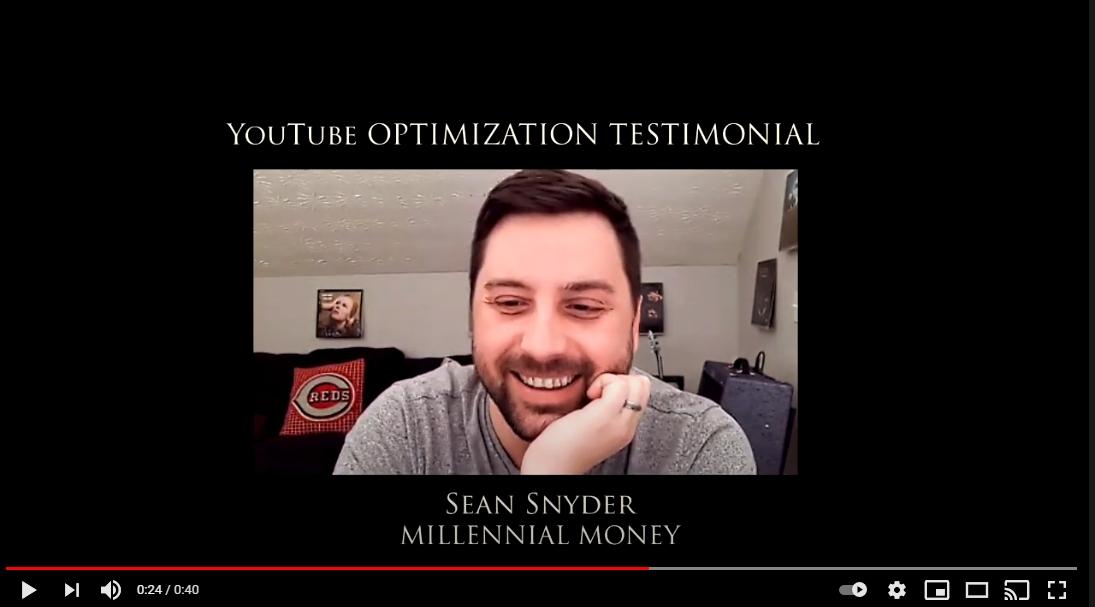 Sean Snyder YouTube Optimization Testimonial